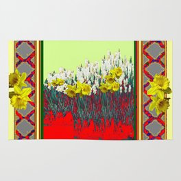 DECORATIVE RED-GOLD WHITE DAFFODIL GARDEN  ART Rug