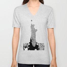New York city map black and white Unisex V-Neck