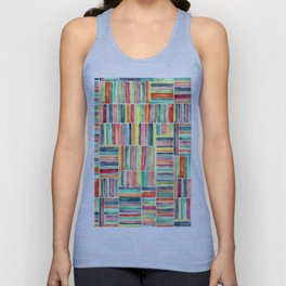 Retro Beach Chair Bright Watercolor Stripes on White Unisex Tank Top