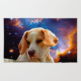 beagle puppy on the wall looking at the universe Rug