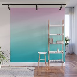 Pastel Ombre Pink Blue Teal Gradient Pattern Wall Mural