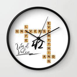 Life Universe and Everything Scrabble 42 Wall Clock