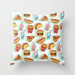 Rainbow Fast Food Throw Pillow