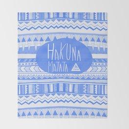 Hakuna Matata electric blue  Throw Blanket