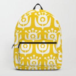 Retro Flower Pattern Yellow Backpack