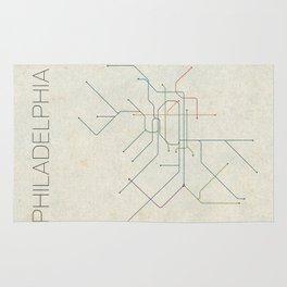 Minimal Philadephia Subway Map Rug