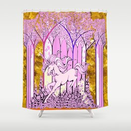 Pink & Gold  Unicorn Fantasy Abstract Shower Curtain