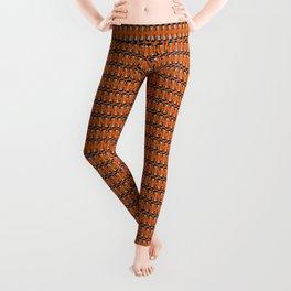 Guitars (Tiny Repeating Pattern on Orange) Leggings