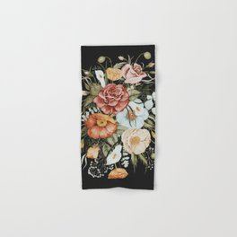 Roses and Poppies Bouquet on Charcoal Black Hand & Bath Towel