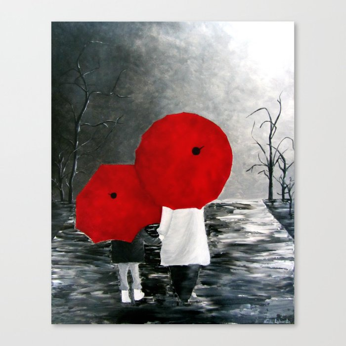 Black White Red Mother And Child With Umbrella Print Of Painting Rainy Cloudy Surrealism Canvas