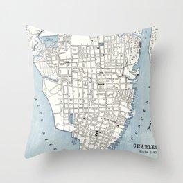 Vintage Map of Charleston South Carolina (1898) Throw Pillow