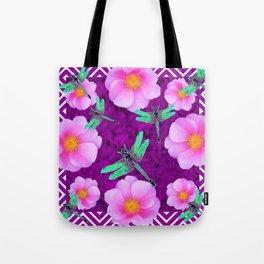Aqua Dragonflies Pink Roses Purple Abstract Pattern Art Tote Bag