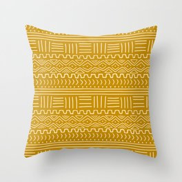Mud Cloth on Mustard Throw Pillow