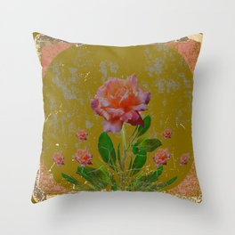 ANTIQUE AVOCADO COLOR  CORAL  PINK ROSES BOTANICAL ART Throw Pillow