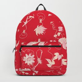 Red Passiflora Floral Pattern Backpack