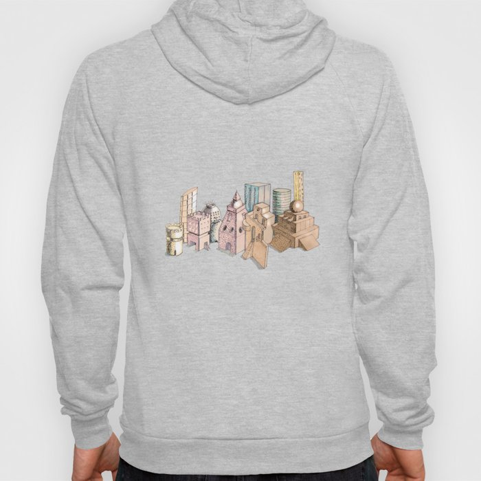 the city painted in pastel colours . illustration . art Hoody
