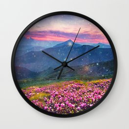Blooming mountains Wall Clock
