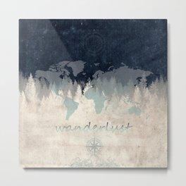 world map wanderlust forest 2 Metal Print