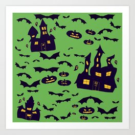 Green Haunted Houses Art Print