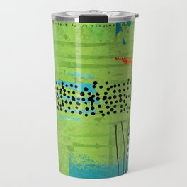 Red and Green Abstract Art Collage Travel Mug