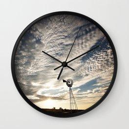 Sandhills Windmill @ Sunset Horizontal Wall Clock