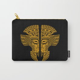 Yellow and Black Aztec Twins Mask Illusion Carry-All Pouch