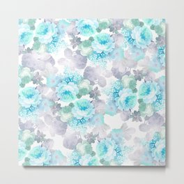 Modern teal gray chic romantic roses flowers Metal Print