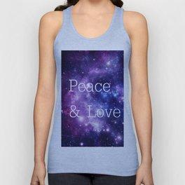Peace & Love Space purple blue Unisex Tank Top