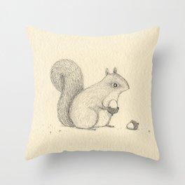 Monochrome Squirrel Throw Pillow