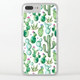 Watercolor Cactus Pattern Clear iPhone Case