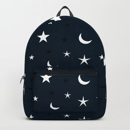 Navy blue background with black and white moon and star pattern Backpack