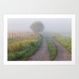 Summer foggy morning. Art Print