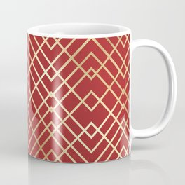 Modern Chinese Red Art Deco Geometric Pattern Coffee Mug