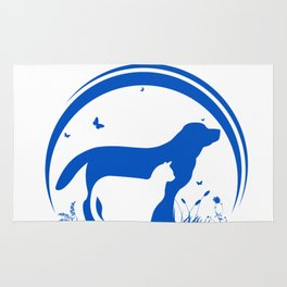Dog and Cat and nature Silhouette Rug