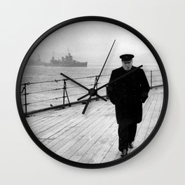Winston Churchill At Sea Wall Clock