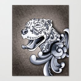Ornamental Pit Bull - Black and Grey Filigree Pitbull Canvas Print
