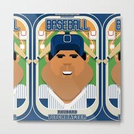 Baseball Blue Pinstripes - Rhubarb Pitchbatter - Seba version Metal Print