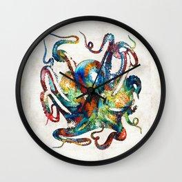 Colorful Octopus Art by Sharon Cummings Wall Clock