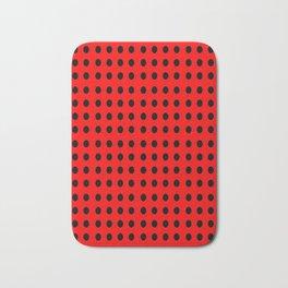 red and black polka dot- polka,polka dot,dot,pattern,circle,disc, point,abstract, minimalism Bath Mat