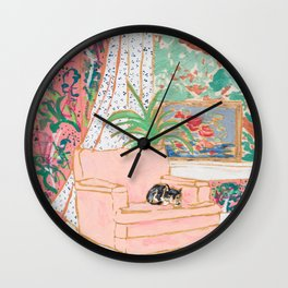 Catnap - Tuxedo Cat Napping in Chair by the Window Wall Clock