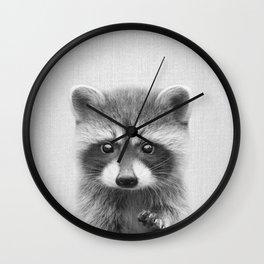 Raccoon - Black & White Wall Clock