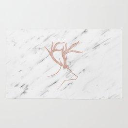Rose gold deer - soft white marble Rug