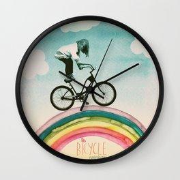 Rainbow Bicycle Wall Clock