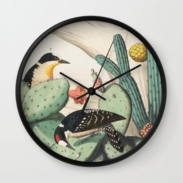 Woodpeckers And Cacti Wall Clock