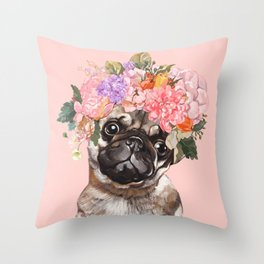 Pug with Flower Crown Throw Pillow