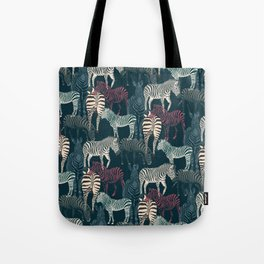 zebra navy Tote Bag
