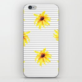 Yellow Daises on Minimal Black and White Stripes iPhone Skin
