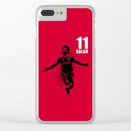 SPORTS ART #SALAH THE KING on red Clear iPhone Case