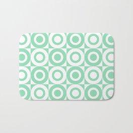 Mid Century Square and Circle Pattern 541 Mint Green Bath Mat