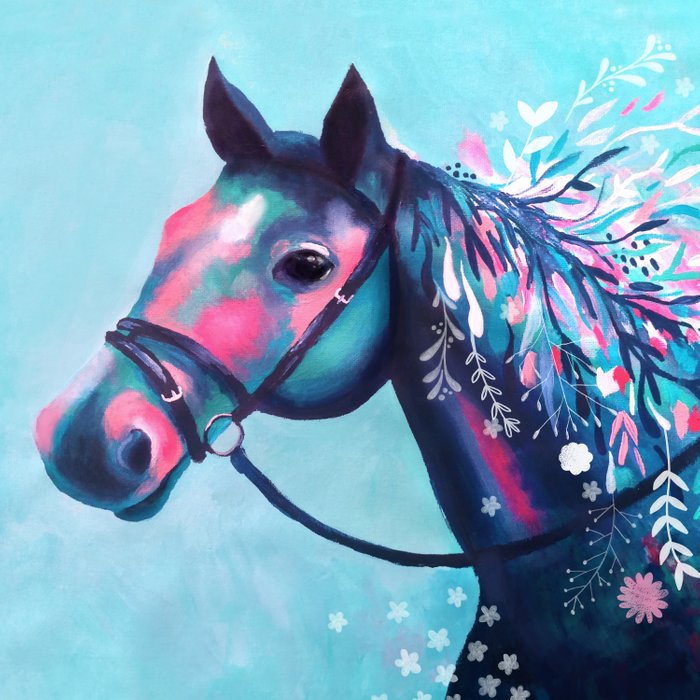 Horse with Floral Mane Duvet Cover